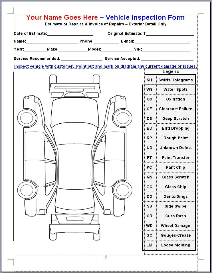 ... vehicle inspection forms 800 x 1102 198 kb jpeg templates vehicle