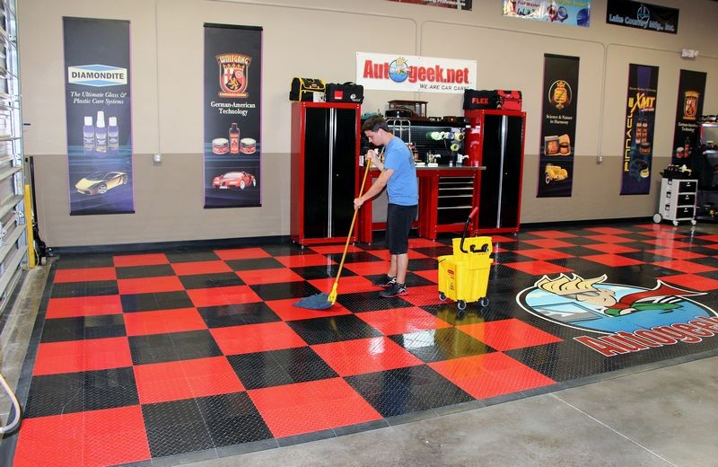 Cleaning racedeck tuffshield diamond tile floors with for How to wash garage floor
