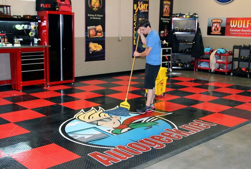 Cleaning racedeck tuffshield diamond tile floors with for How to clean garage floor