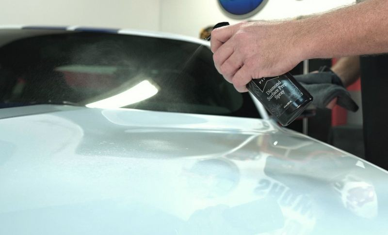 First, spray Pinnacle Black Label Surface Prep Spray onto the surface.