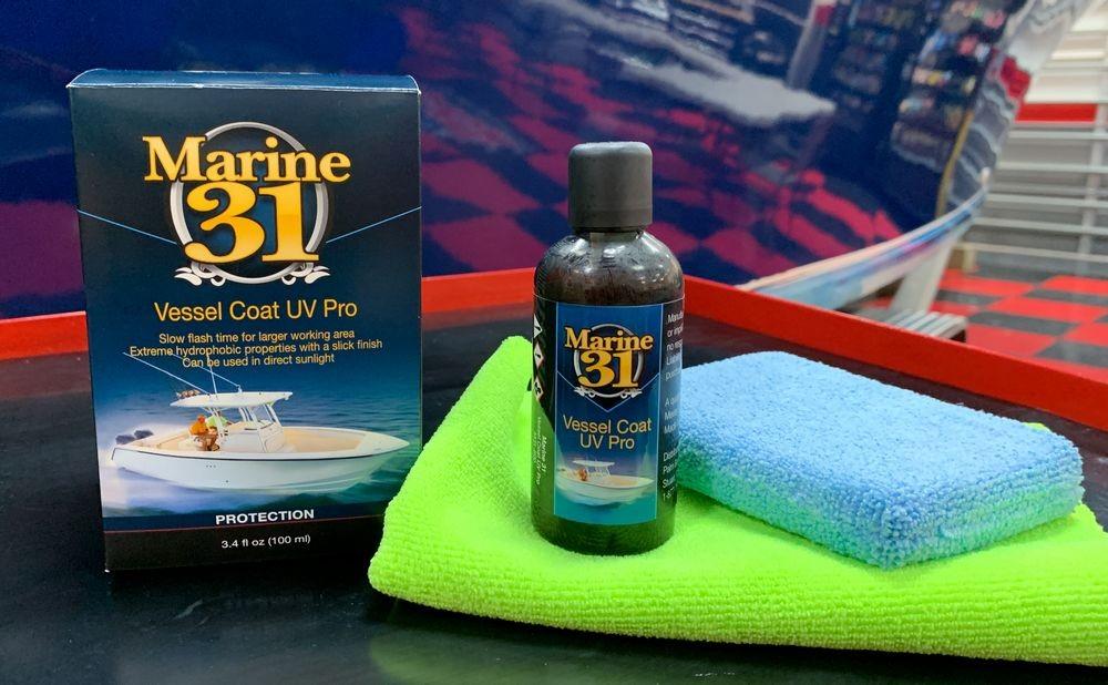 Marine 31 Vessel Coat UV Pro Coating near detailed boat.