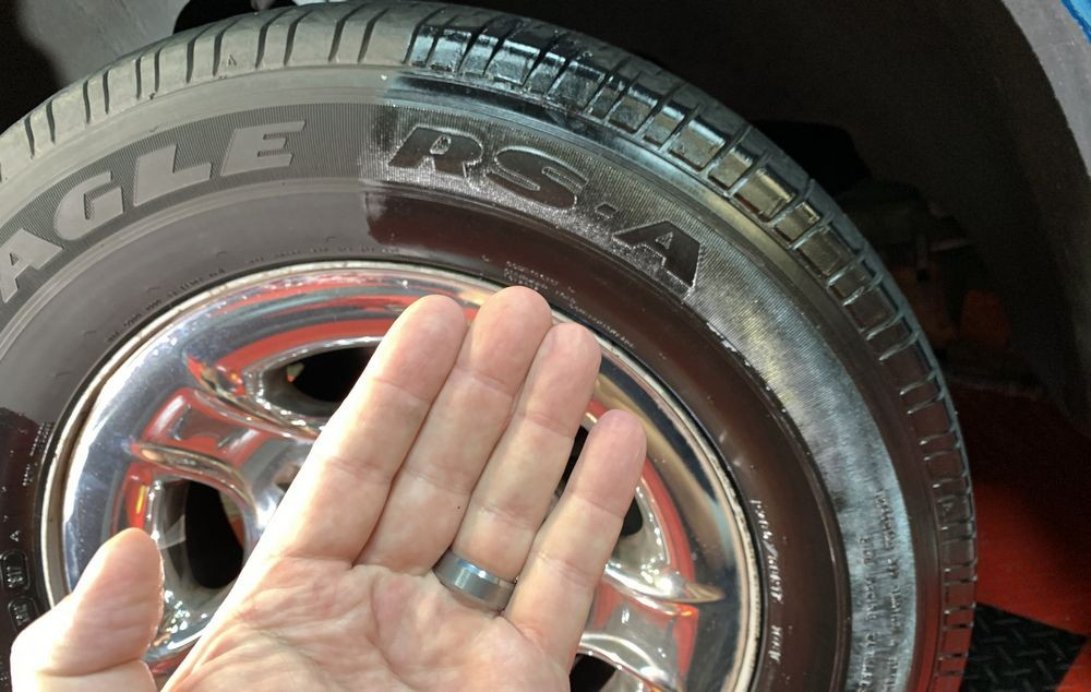 PBL Tire Coating lasts long and isn't greasy.