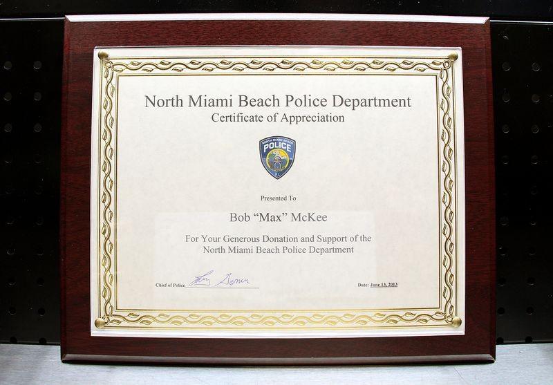 North Miami Beach Police Department Certificate Of