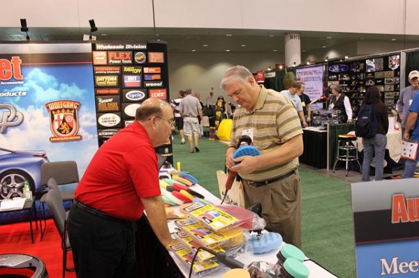 Bob from FLEX working at Autogeek's booth at SEMA 2009.