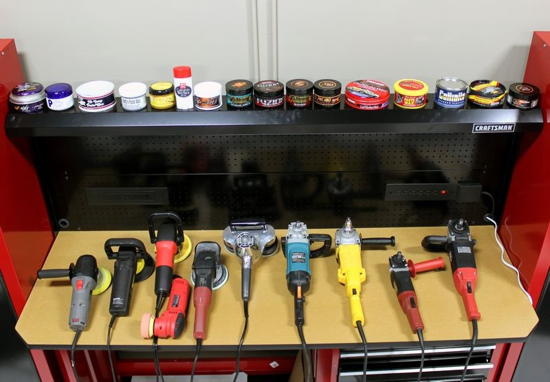 Tool time at autogeek 39 s show car garage for Car wax on kitchen cabinets