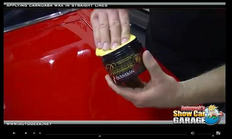 Show car garage video how to apply a carnauba finishing wax by hand with the straight line