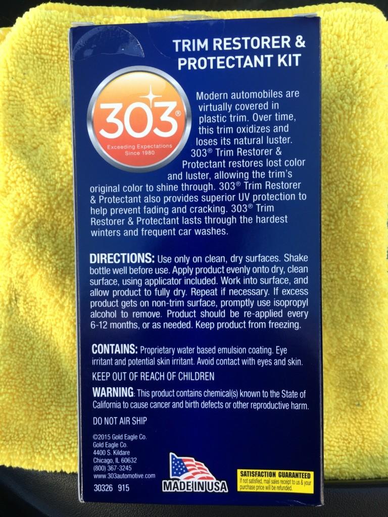 Reveiw 303 Automotive Trim Restorer And Protectant