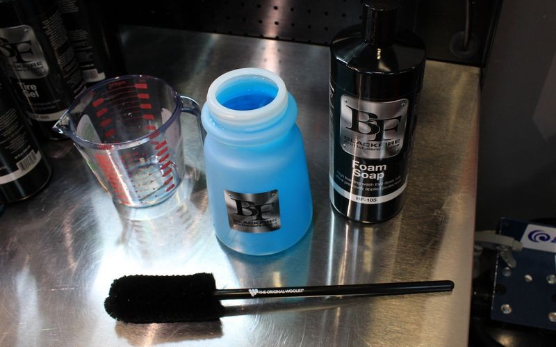 Once mixture is completed, it's a nice blue color.