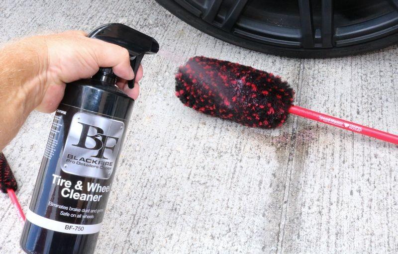 Spraying BLACKFIRE Tire & Wheel Cleaner directly onto Speed Master Wheel Woolie.