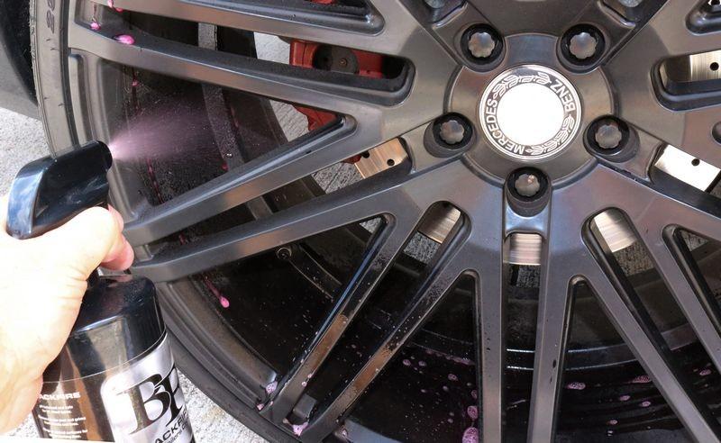 Spray BLACKFIRE Tire & Wheel Cleaner onto the wheel.