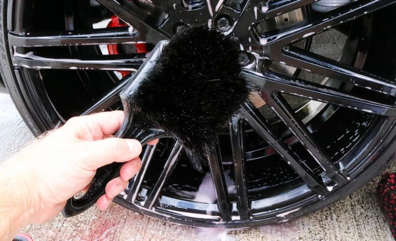 Use a Wheel Woolies Wheel Brush to clean the front of the wheel.