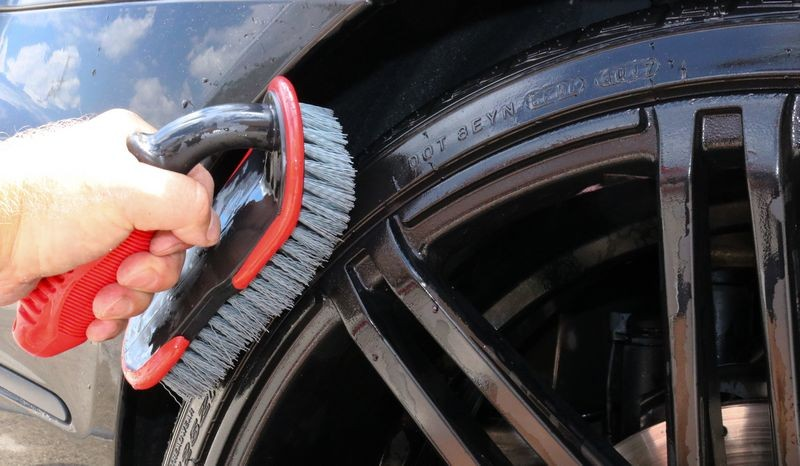 Now scrub tire using the Speed Master Wheel Scrub Brush.