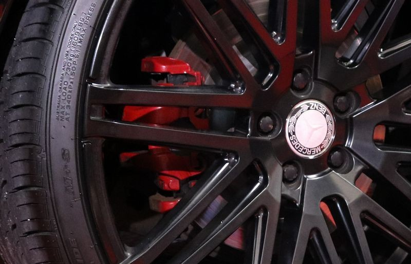 Clean wheels with dressed tires.