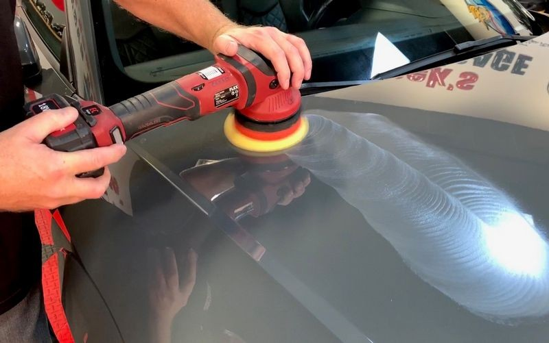 Machine polish to remove any swirls or scratches in paint.