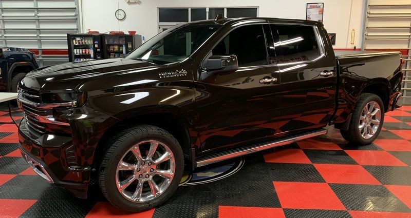 Side shot of a 2018 Chevrolet Silverado freshly detailed.
