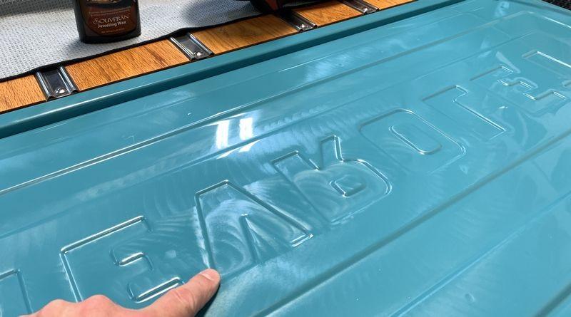 Polishing tailgate of Chevy Pickup Truck