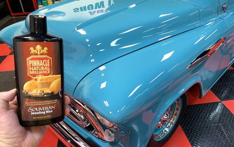 Bottle of Jeweling Wax in front of Chevy Pickup Truck