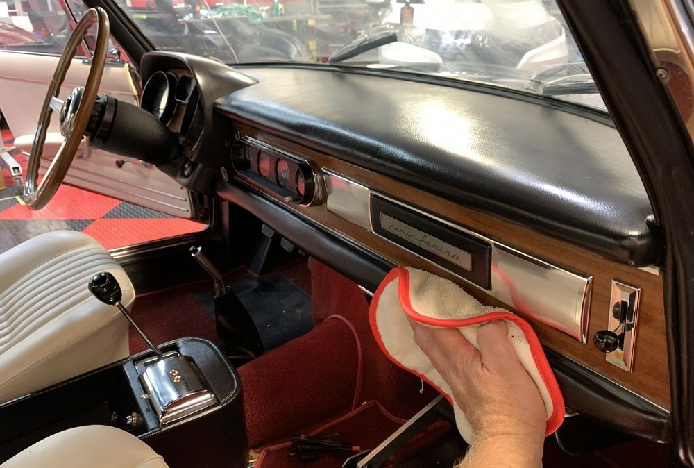 Applying Prestine Clean to leather surfaces.