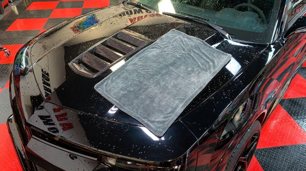 Notorious D.R.Y towel on wet car.