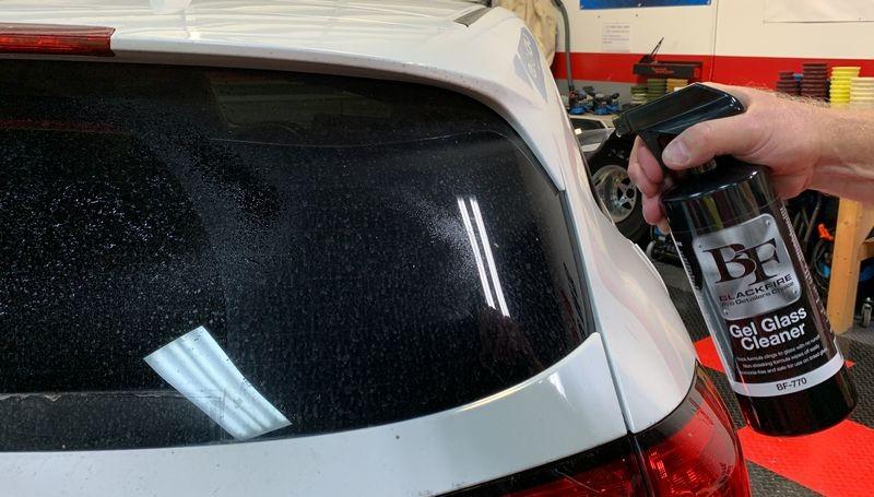 Spray BLACKFIRE Gel Glass Cleaner onto surface.