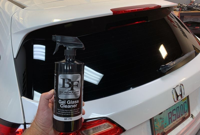 Crystal clear glass after cleaning with BLACKFIRE Gel Glass Cleaner.