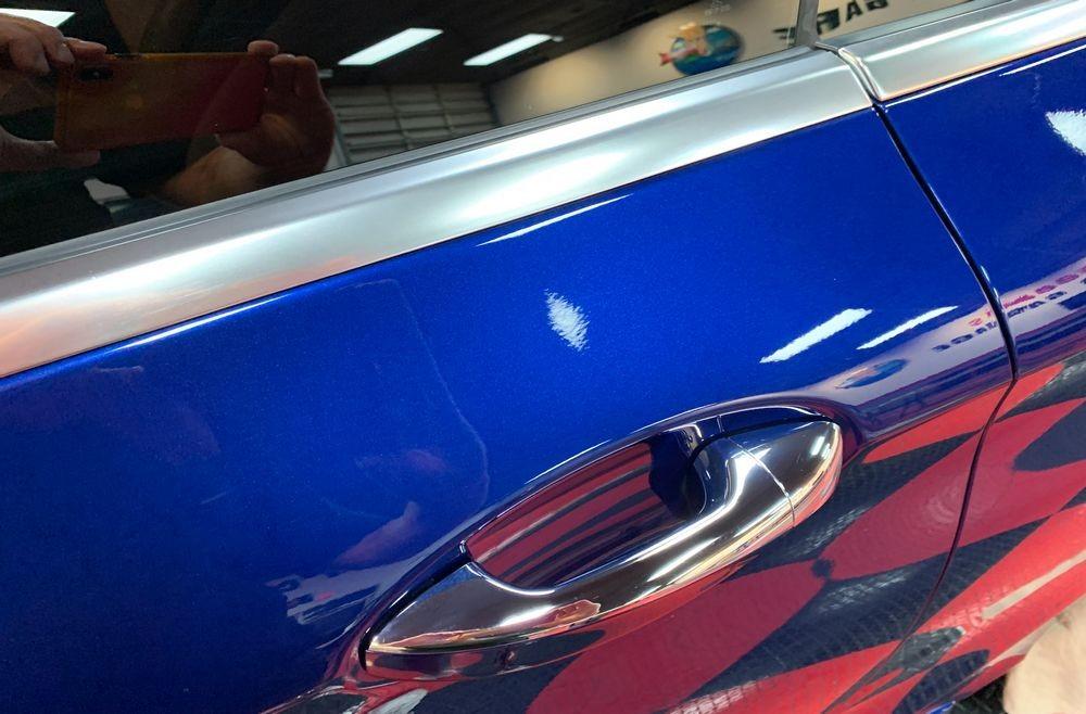 Freshly detailed anodized aluminum trim.