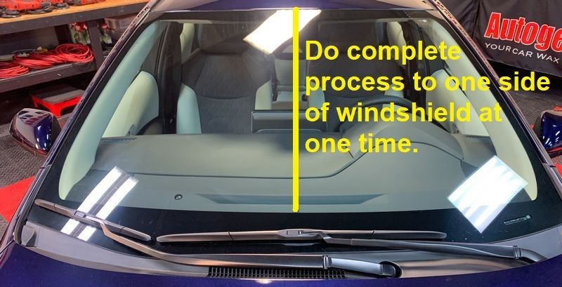 Do complete process to one sie of windshield at one time.