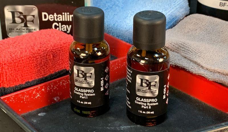 BLACKFIRE GLASSPRO Coating System bottles.