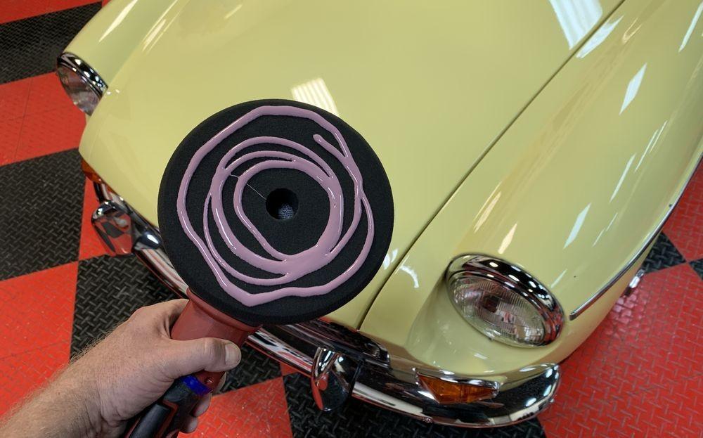 DP Ceramic Paint Sealant on black finishing pad.