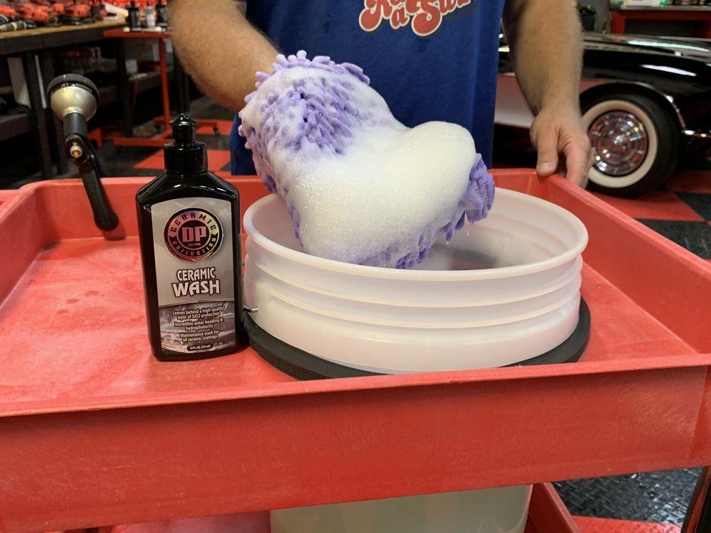 Soapy wash mitt in bucket.