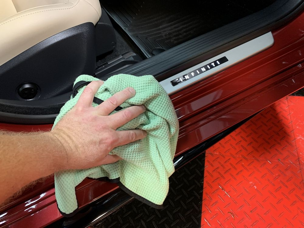 Stretch the car to make sure every surface is dried.