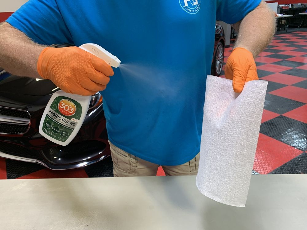 As a fun test, spray a paper towel with 303 Fabric Guard.
