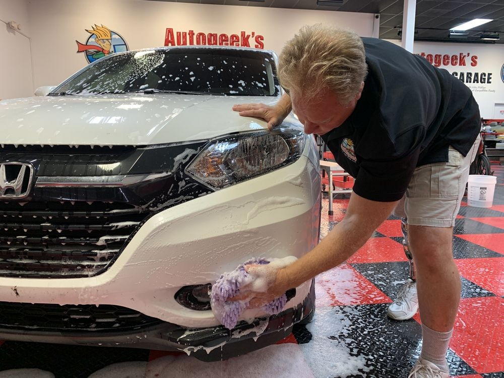 Washing front of car with DP GR4 Graphene Wash.